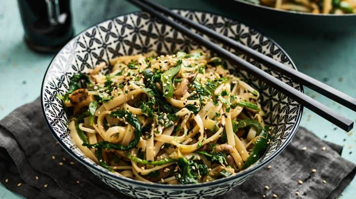 Wok vegetables with rice noodles
